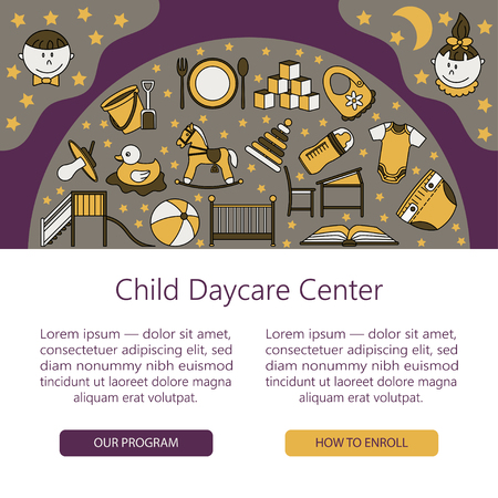 child care: Child and baby care center web or card template with kindergarten vector  . Diaper, sandpit, slide, horse, ball, bottle, crib, pacifier. Illustration