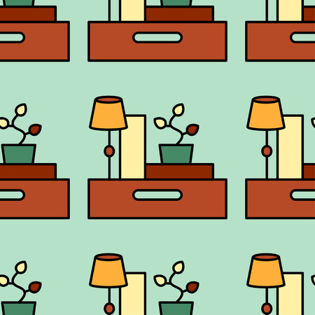 home moving: Office and moving vector seamless pattern. Illustration with box, parcel, table lamp and vases. Home repairs, order and cleaning theme. Illustration