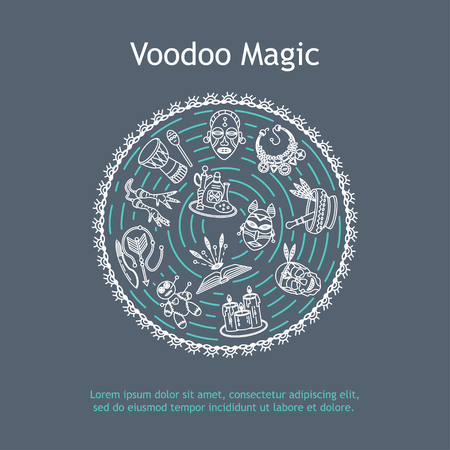 Modern card with voodoo magic vector line icons. Voodoo doll, skull, chicken foot, necklace, poison, candles, drums, book a machete