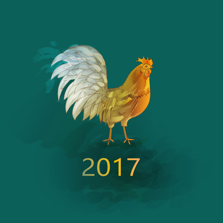 year: 100 Vector. Chinese New Year of the Rooster. Graphic imitation of watercolor painting. Rooster Chinese Painting. New Year card. 2017 New Year card.