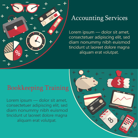 auditing: Bookkeeping card template with vector flat icons for web and print. Finance, accounting and auditing, economic and business illustration.