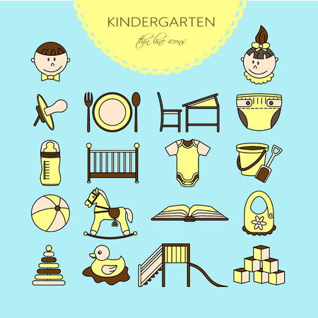 horse care: Child and baby care center color thin line icons. Kindergarten vector  . Diaper, sandpit, slide, horse, ball, bottle, crib pacifier