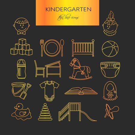 day care center: Child and baby care center thin line icons. Kindergarten golden vector  . Diaper, sandpit, slide, horse, ball, bottle, crib pacifier