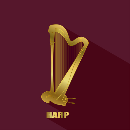 Harp  . Thin line vector golden icon with music instrument.