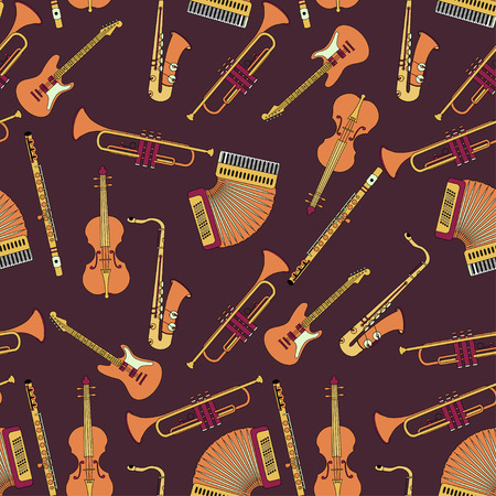 accords: Seamless pattern with different music instruments synthesizer, drums, accordion, violin, trumpet, harp, drum saxophone electric guitar flute piano Vector