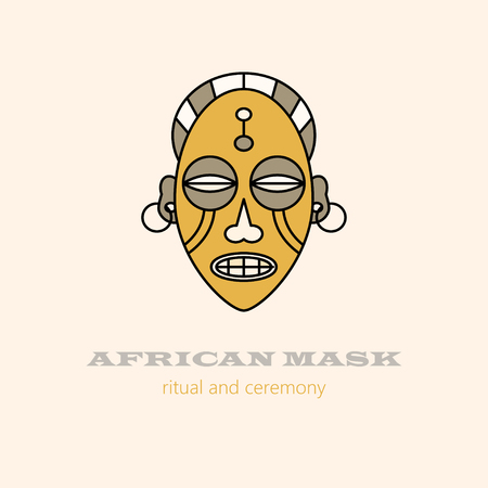 ceremonies: Vector  African masks and religious ceremonies. African souvenir and symbol of voodoo magic. Illustration