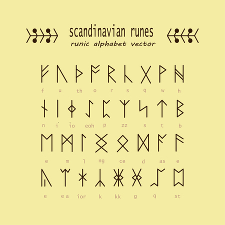 odin: Set of Old Norse Scandinavian runes. Rune alphabet. Occult ancient symbols. Vector.