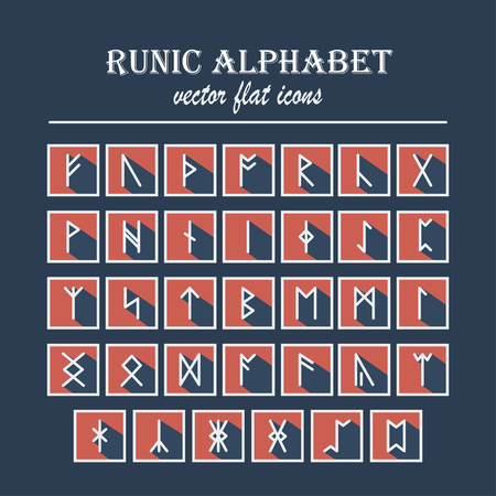 rune: Set of Old Norse Scandinavian runes in trend flat style with long shadows. Rune alphabet. Vector Illustration