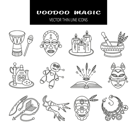 Voodoo doll: Voodoo African and American magic vector line icons. Voodoo doll, skull, chicken foot, necklace, poison, candles, drums, book a machete Illustration