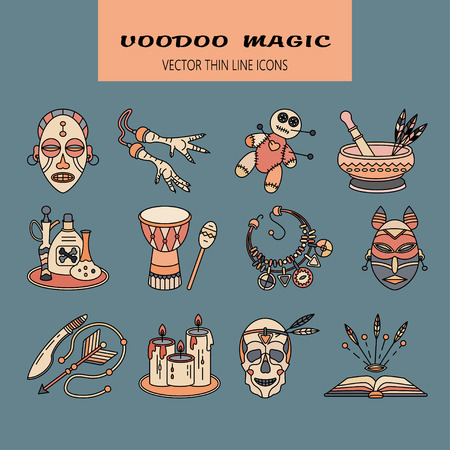 machete: Voodoo African and American magic vector  . Color line icons of voodoo doll, skull,  foot, necklace, poison, candles, drums, book a machete. Illustration