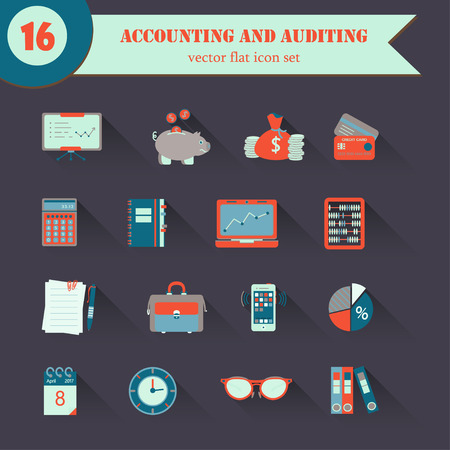bookkeeping: Bookkeeping vector flat icons. Finance, accounting and auditing, economic, business symbols. Business illustration