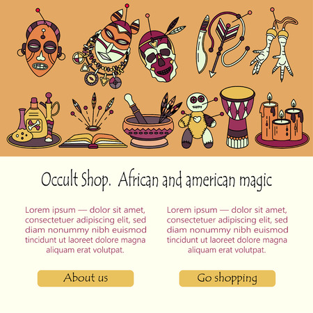 machete: Voodoo magic web template. Mystic card with place for your text. Voodoo doll, skull, chicken foot, necklace, poison, candles, drums, book a machete.