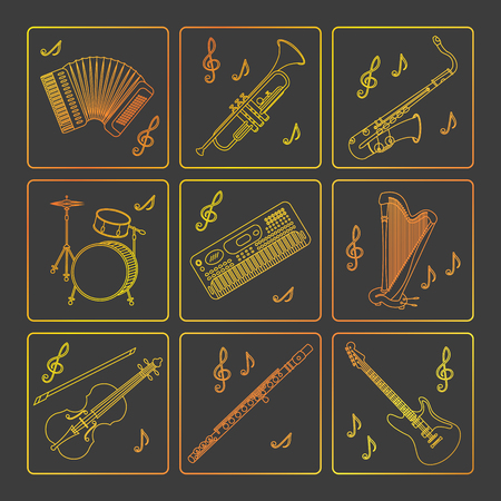 flute music: Vector thin line icons with different music instruments: synthesizer, drums, accordion, violin, trumpet, harp, drum, saxophone, electric, guitar, flute.