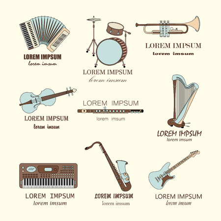 accords: Vector thin line music  : synthesizer, drums, accordion, violin, trumpet, harp, drum, saxophone, electric guitar, flute. Illustration