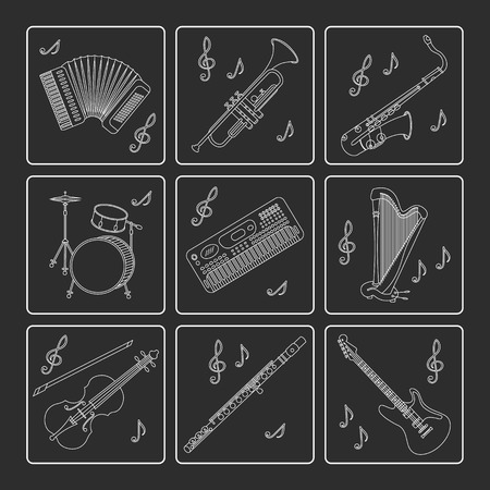 flute music: Vector thin line icons with different music instruments synthesizer, drums, accordion, violin, trumpet, harp, drum saxophone electric guitar flute