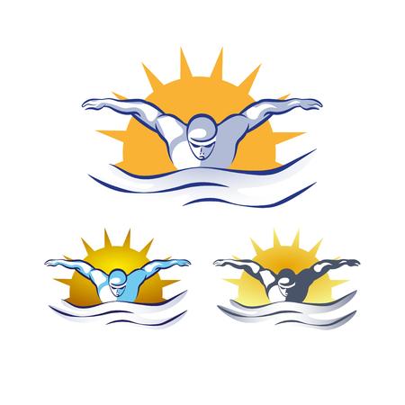 Logo di nuoto astratto di vettore moderno. Set logo piscina. Nuoto attraverso il design delle onde. Nuota all'alba, colori vintage.
