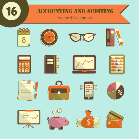 auditing: Bookkeeping  flat icons. Finance, accounting and auditing, economic, business symbols. Business illustration.