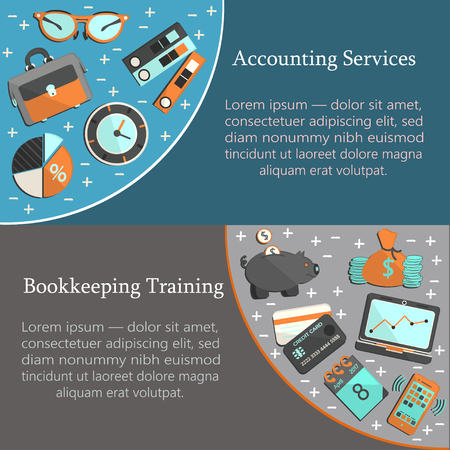 bookkeeper: Bookkeeping card template with  flat icons for web and print. Finance, accounting and auditing, economic and business illustration.