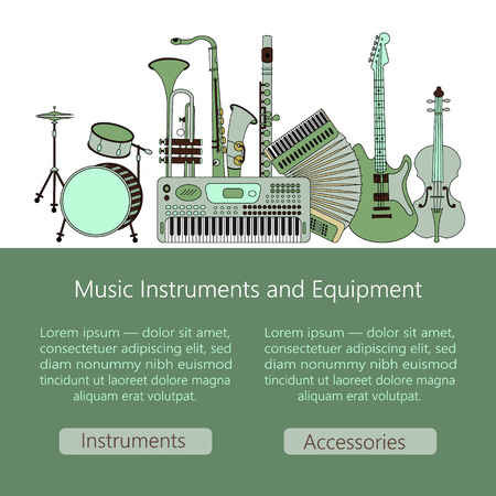 accords: Unique  illustration with different music instruments: synthesizer, drums, accordion, violin, trumpet, harp, drum, saxophone, electric, guitar, flute. Music web or mobile template. Illustration