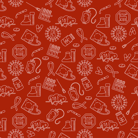 red condom: Medical HIV Aids seamless pattern with detailed pictograms . World Aids Day concept. Vector illustration. Illustration