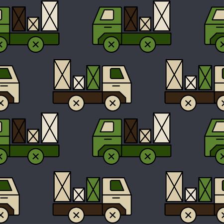 Naadloos stuk speelgoed vrachtwagenpatroon met pakket. Perfect voor elk kindmateriaal of behang.