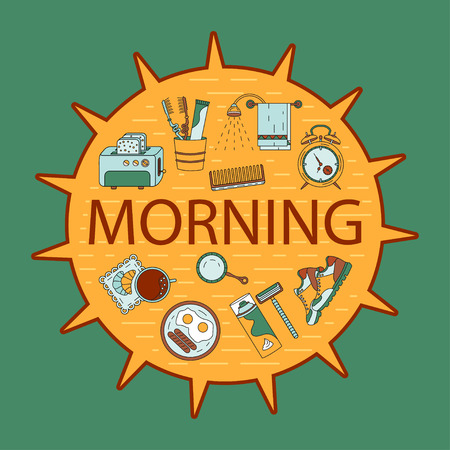 Good morning vector card with modern symbols of good start to the day - breakfast, coffee, sports, hygiene.