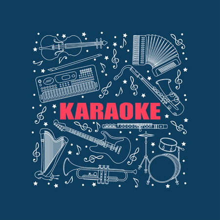 accords: Vector illustration with different music instruments synthesizer, drums, accordion, violin, trumpet, harp, drum, saxophone electric guitar flute Place for your text Karaoke Illustration