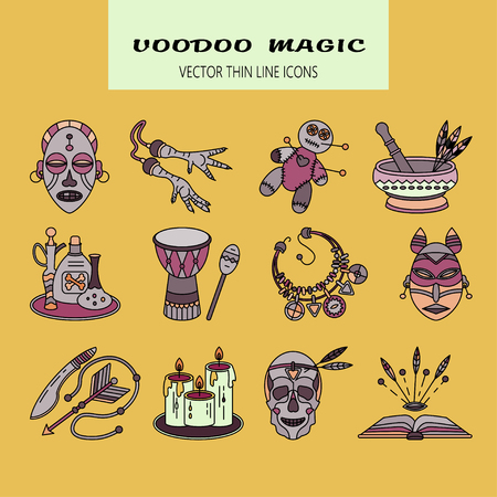 magical equipment: Voodoo African and American magic vector logo. Color line icons of voodoo doll, skull, chicken foot, necklace, poison, candles, drums, book a machete.