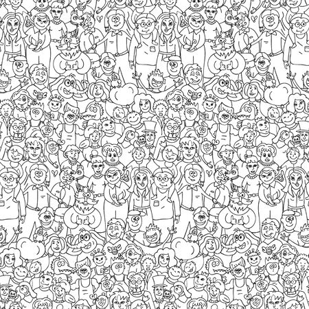 A large group of people. Seamless pattern of happy laughing people. Vector cartoon background.