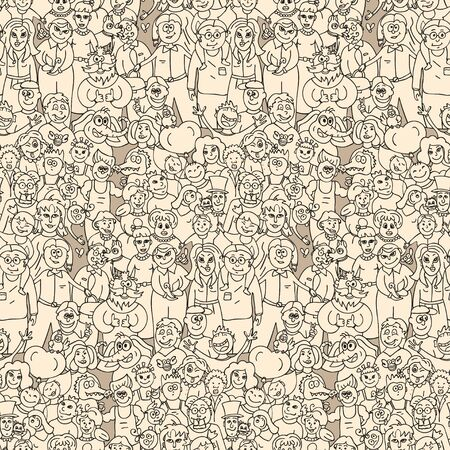crowd happy people: A large group of people. Seamless pattern of happy laughing people. Vector cartoon background. Illustration