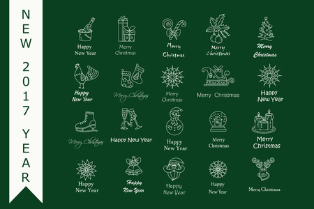 skating on thin ice: Christmas thin line icons set. Modern icons for New Year 2017 with winter and year symbols - snowflake, Santa, reindeer sleigh, champagne, ice skating, gifts, rooster, etc.