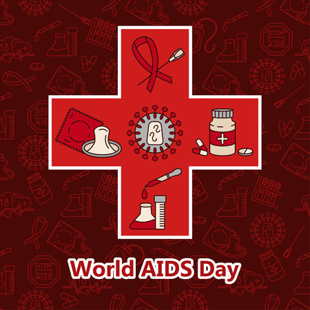 aids virus: Aids Card. World Aids Day concept. Vector illustration