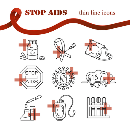 red condom: Medical HIV Aids thin line Icons. World Aids Day concept. Vector illustration.