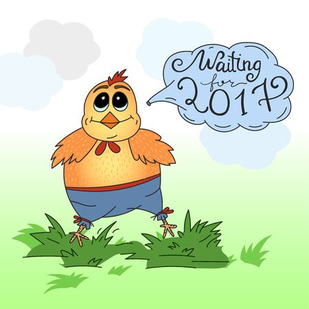 chineese: Cute cartoon chicken vector illustration. Color card - little rooster waiting for the New 2017 Year. Illustration