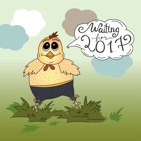 chineese: Waiting for 2017. Vector New Year illustration wirh chicken. Illustration