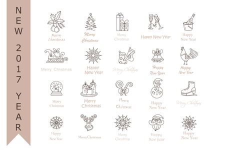 santa sleigh: Christmas thin line icons set. Modern icons for New Year 2017 with winter and year symbols - snowflake, Santa, reindeer sleigh, champagne, ice skating, gifts, rooster, etc.