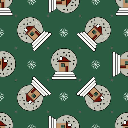 snowglobe: Vector seamless pattern with Christmas snowglobe for Christmas holidays and New Year 2017. Vector illustration for Merry Christmas and Happy New Year print design. Illustration