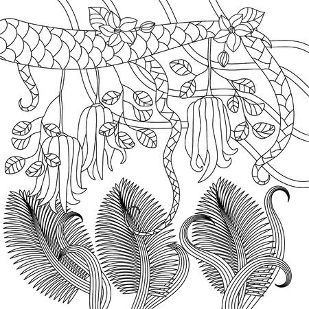 Ilustración De Vector Tropical Página Para Colorear Antiestrés Para ...