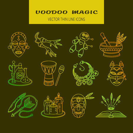 poison arrow: Voodoo African and American magic vector line icons. Voodoo doll, skull, chicken foot, necklace, poison, candles, drums, book a machete Illustration