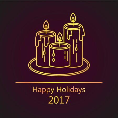 黄金の密告とカード。幸せな休日 2017。マジック、クリスマス休日、神秘主義やロマンチックな夕方のシンボルです。  イラスト・ベクター素材