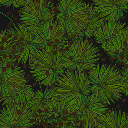 jungle vines: Tropical island seamless pattern. Palm leaves, jungle leaves with berries and seeds. Vector floral background.