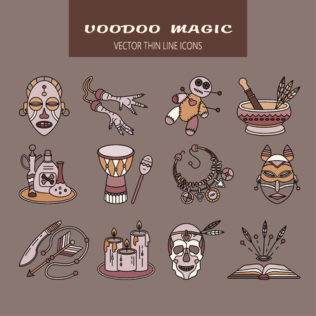 machete: Voodoo African and American magic vector logo. Color line icons of voodoo doll, skull, chicken foot, necklace, poison, candles, drums, book a machete.