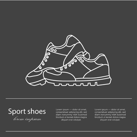 moderm: Shoes flat icon with bright colorful running sneakers. Vector thin line illustration with plase for your text.