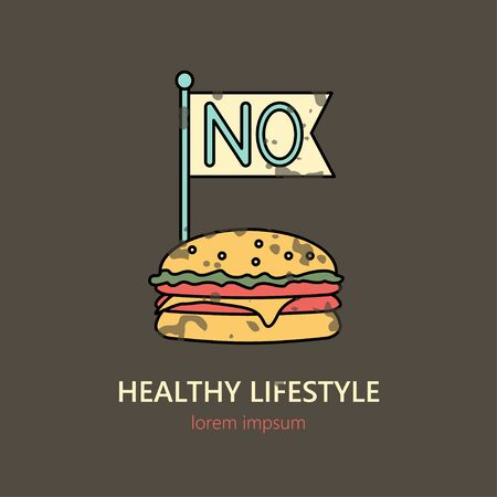 No Fast Food vintage vector icon on the dark background. Иллюстрация