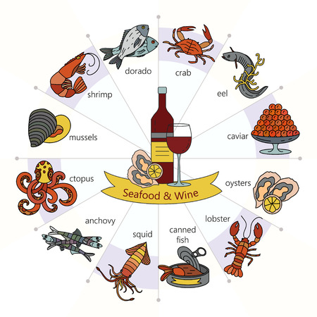 Seafood food wine infographic. Vector. Symbols of various seafood delicacies and wine. Illustration