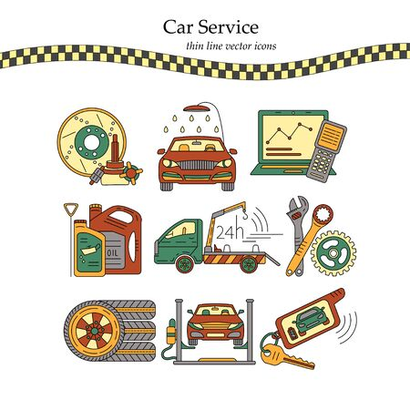 Vector Thin Line Pictogram Symbols Of Car Service Tire Service