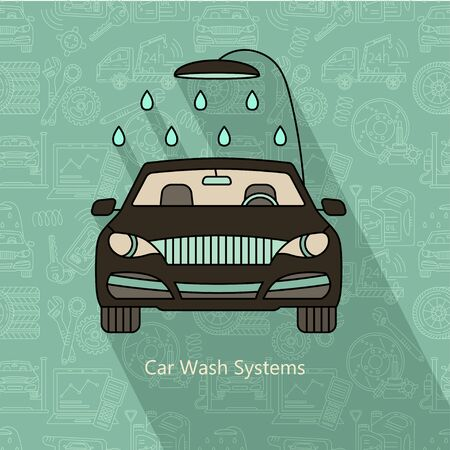 goods station: Car Wash Systems. Vector modern logo.