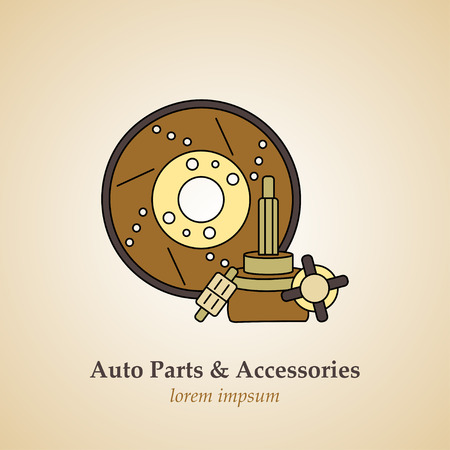Auto parts and accessories. Vector modern logo.