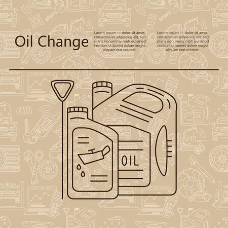 oil change: Oil change Service. Thin line vector logo. Illustration