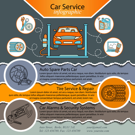 Car repair infographics. Cat service and Tire infographic. Ideal for promotional leaflets, posters and banners. Vector